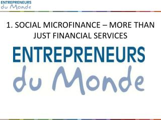 1. SOCIAL MICROFINANCE – MORE THAN JUST FINANCIAL SERVICES
