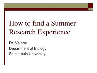 How to find a Summer Research Experience