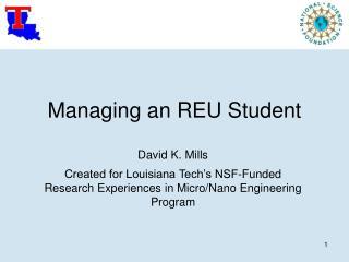 Managing an REU Student