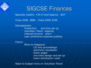 SIGCSE Finances