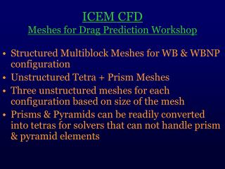 ICEM CFD Meshes for Drag Prediction Workshop