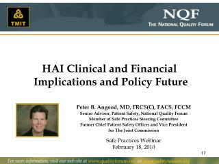 HAI Clinical and Financial Implications and Policy Future