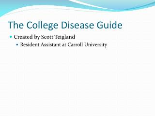 The College Disease Guide