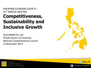 PHILIPPINE ECONOMIC SOCIETY –  51 ST  ANNUAL MEETING
