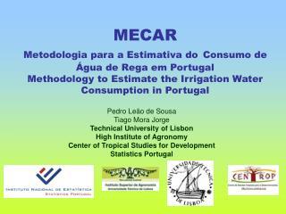 Pedro Le�o de Sousa Tiago Mora Jorge Technical University of Lisbon High Institute of Agronomy