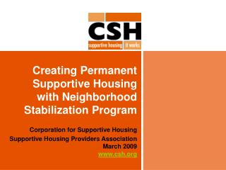 Creating Permanent Supportive Housing with Neighborhood Stabilization Program