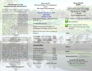 Monday October 6, 2014 Blue Hill  GOLF CLUB Registration, Practice, and Lunch begin  at 10:30 a.m.