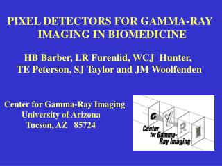 PIXEL DETECTORS FOR GAMMA-RAY            IMAGING IN BIOMEDICINE