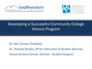 Developing a Successful Community College Honors Program