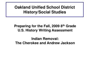 Oakland Unified School District History/Social Studies