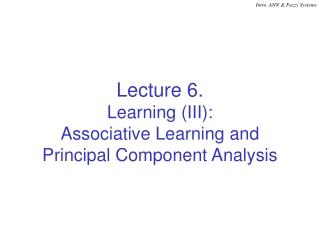 Principle Component Analysis PCA