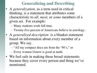 Generalizing and Describing