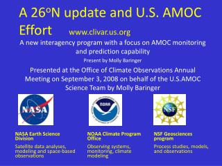 A 26 o N update and U.S. AMOC Effort      clivar