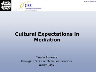 Camilo Azcarate Manager, Office of Mediation Services World Bank