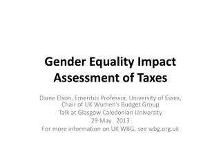 Gender Equality Impact Assessment of Taxes