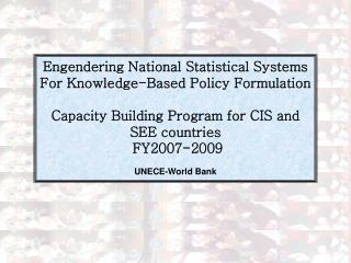 Engendering National Statistical Systems  For Knowledge-Based Policy Formulation