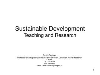 Sustainable Development Teaching and Research
