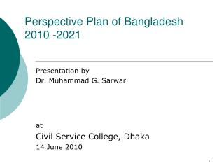 Perspective Plan of Bangladesh 2010 -2021
