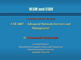 VLSM and CIDR
