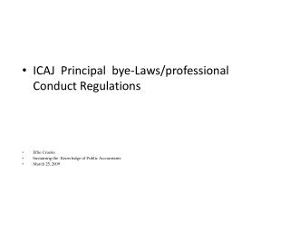 ICAJ  Principal  bye-Laws/professional Conduct Regulations Effie Crooks