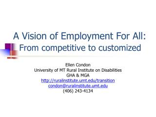 A Vision of Employment For All:   From competitive to customized