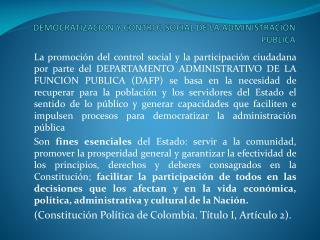 DEMOCRATIZACION Y CONTROL SOCIAL DE LA ADMINISTRACION PUBLICA