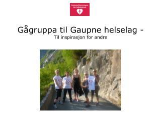 Gågruppa til Gaupne helselag -  Til inspirasjon for andre
