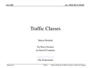 Traffic Classes