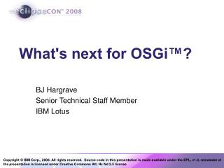 What's next for OSGi™?