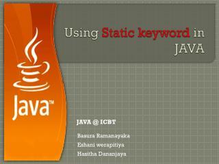 Using  Static keyword  in  JAVA