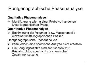 Röntgenographische Phasenanalyse