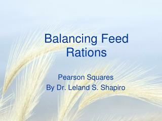Balancing Feed Rations