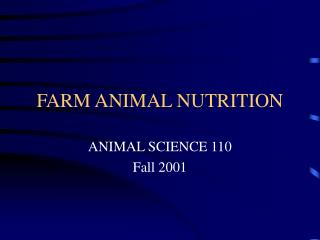 FARM ANIMAL NUTRITION