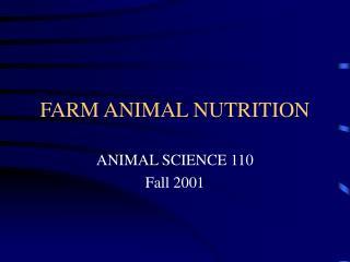 FARM ANIMAL NUTRITION