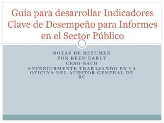 Guía para desarrollar Indicadores Clave de Desempeño para Informes en el Sector Público