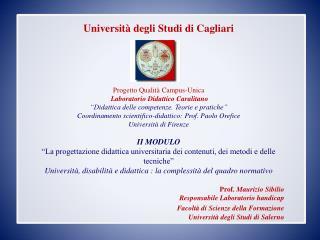 Università degli Studi di Cagliari  Progetto Qualità Campus-Unica