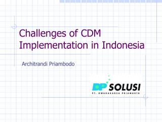 Challenges of CDM Implementation in Indonesia