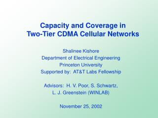 Capacity and Coverage in  Two-Tier CDMA Cellular Networks