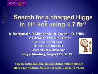 Search for a charged Higgs in  H + cs  using 4.7 fb -1