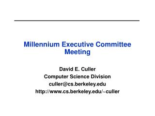 Millennium Executive Committee Meeting