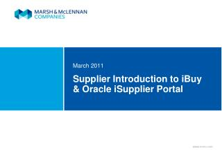 Supplier Introduction to iBuy  Oracle iSupplier Portal
