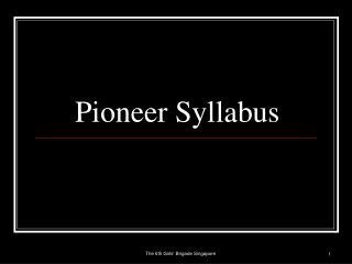 Pioneer Syllabus