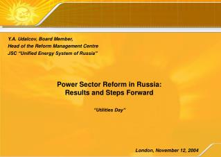 Power Sector Reform in Russia : Results and Steps Forward