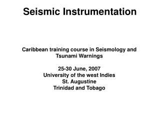 Seismic Instrumentation