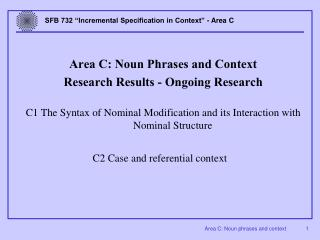 Area C: Noun Phrases and Context Research Results - Ongoing Research