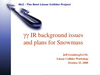 gg  IR background issues and plans for Snowmass