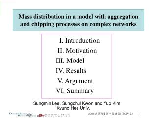 Mass distribution in a model with aggregation and chipping processes on complex networks