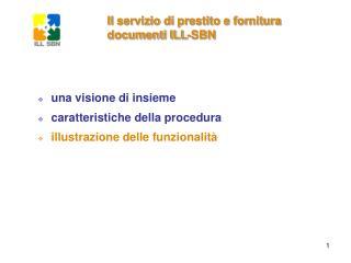 Il servizio di prestito e fornitura documenti ILL-SBN