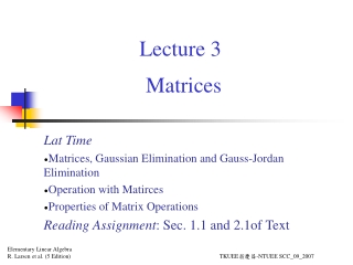 Lecture 8 - Gaussian Elimination