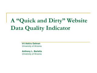 "A ""Quick and Dirty"" Website Data Quality Indicator"